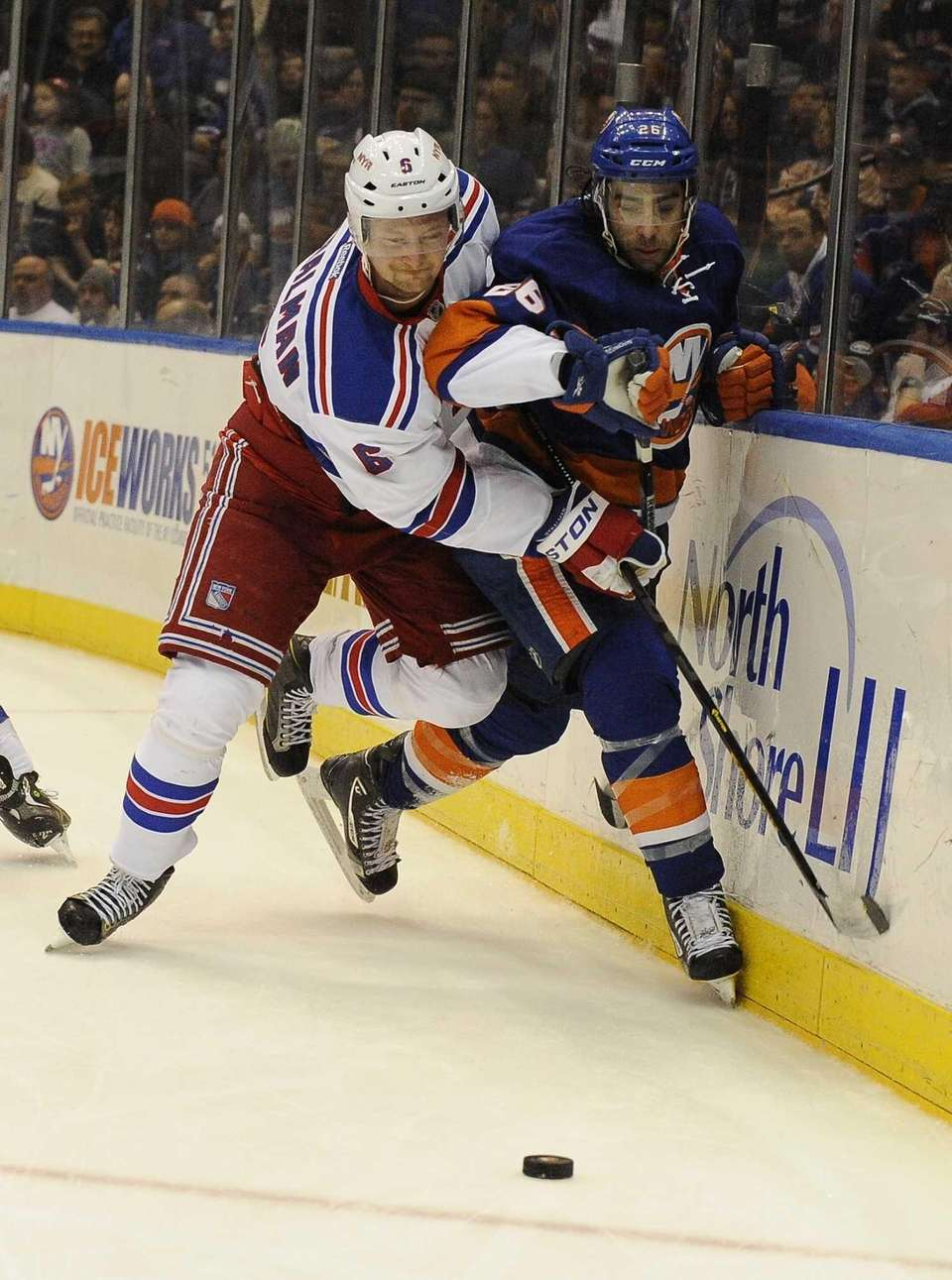 Anton Stralman of the Rangers and Matt Moulson