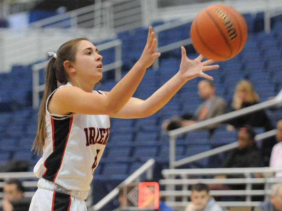 Friends Academy's Maddie O'Brien takes an inbounds pass