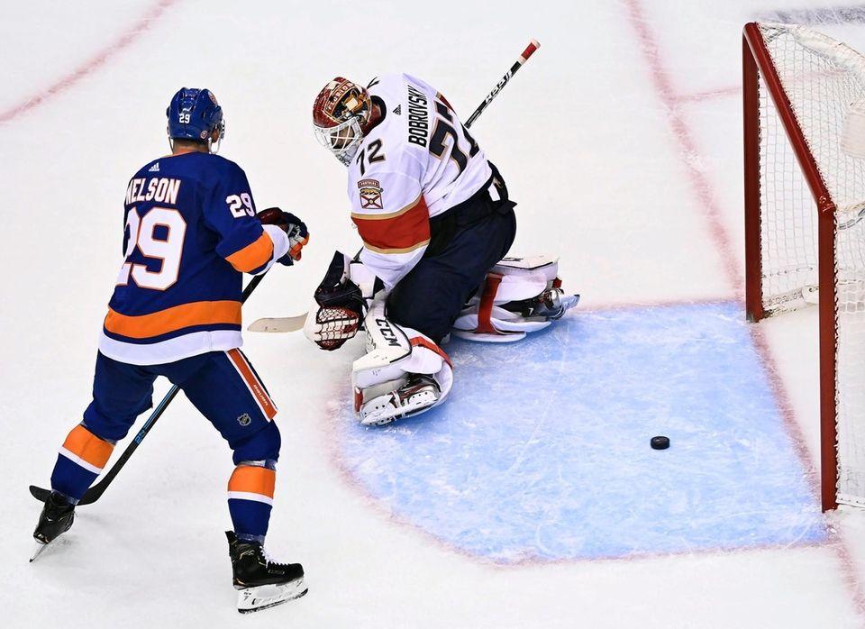 New York Islanders centre Brock Nelson (29) watches