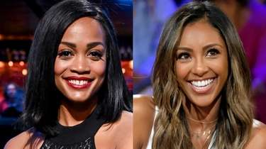 "First Black ""Bachelorette"" Rachel Lindsay, pictured left in"