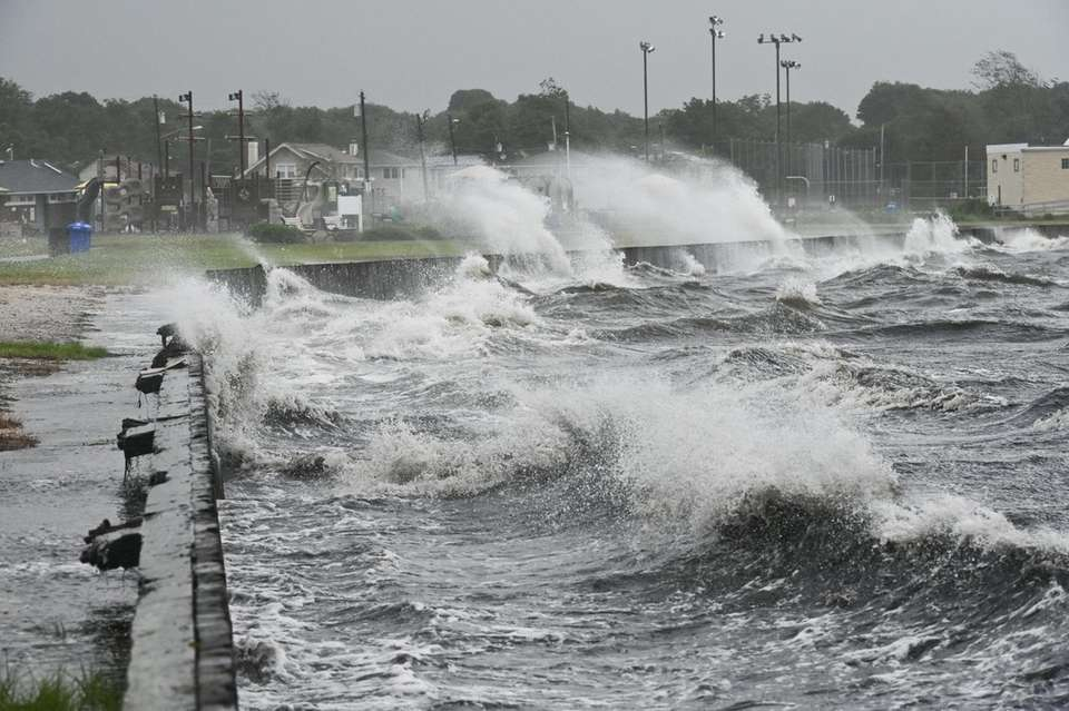 Waves crash along the shore of Patchogue as