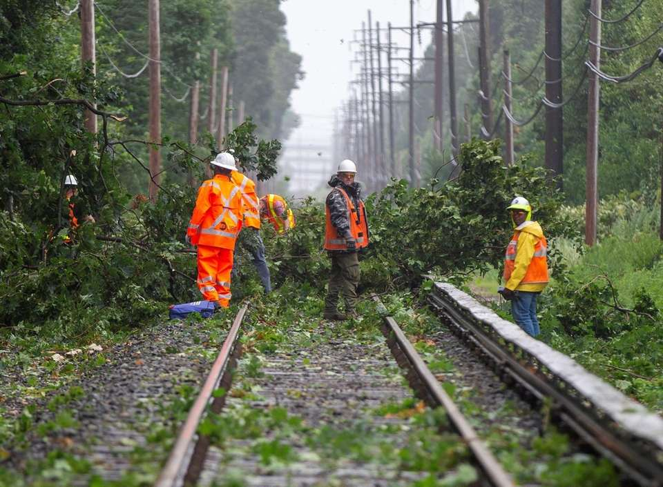 Crews work on clearing a tree blocking the