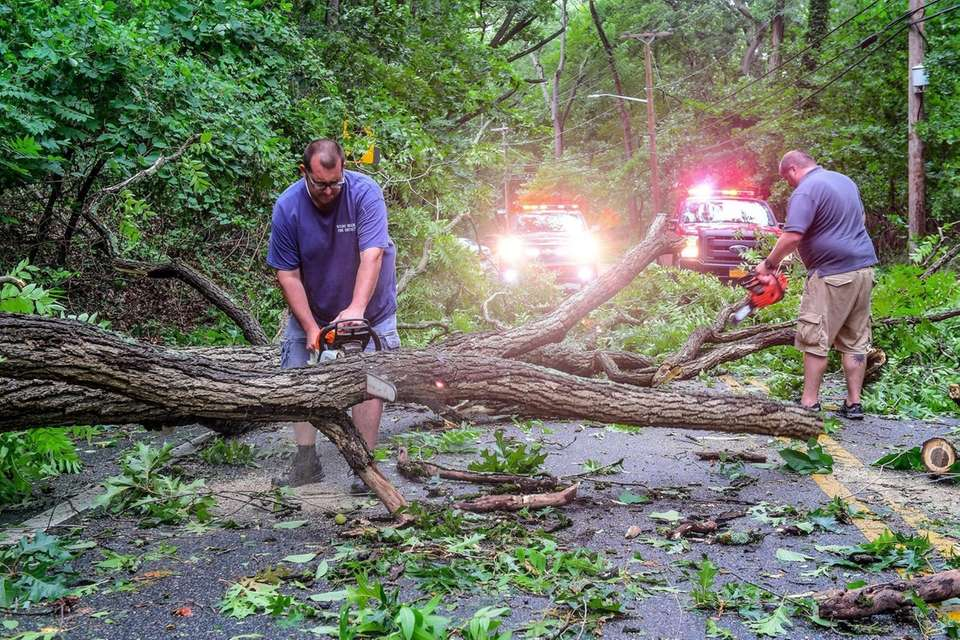 Stony Brook Fire Department and Brookhaven workers respond