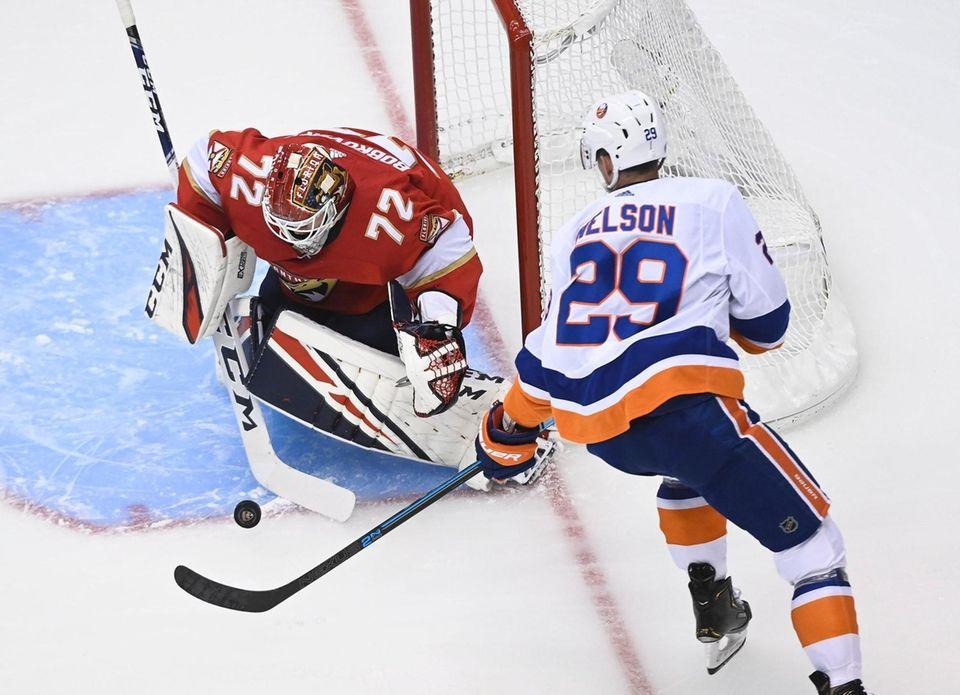 Florida Panthers goaltender Sergei Bobrovsky makes a save