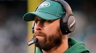 Jets head coach Adam Gase looks on during