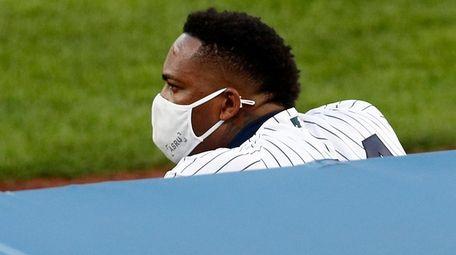 Aroldis Chapman, looking on during Yankees-Red Sox game