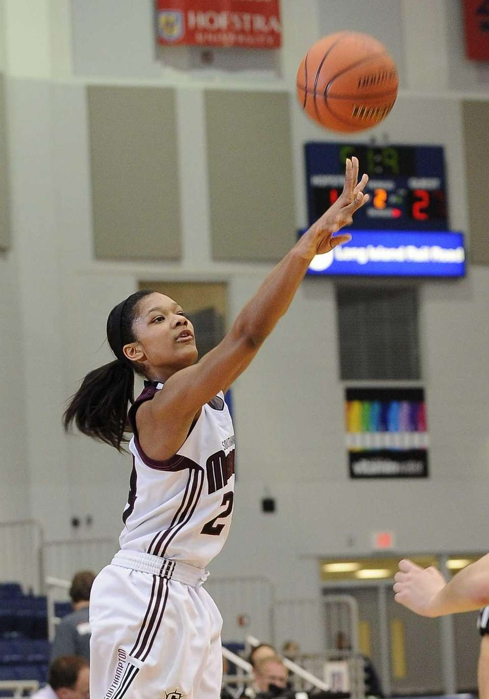 Southampton's Paris Hodges sinks a three-point shot against