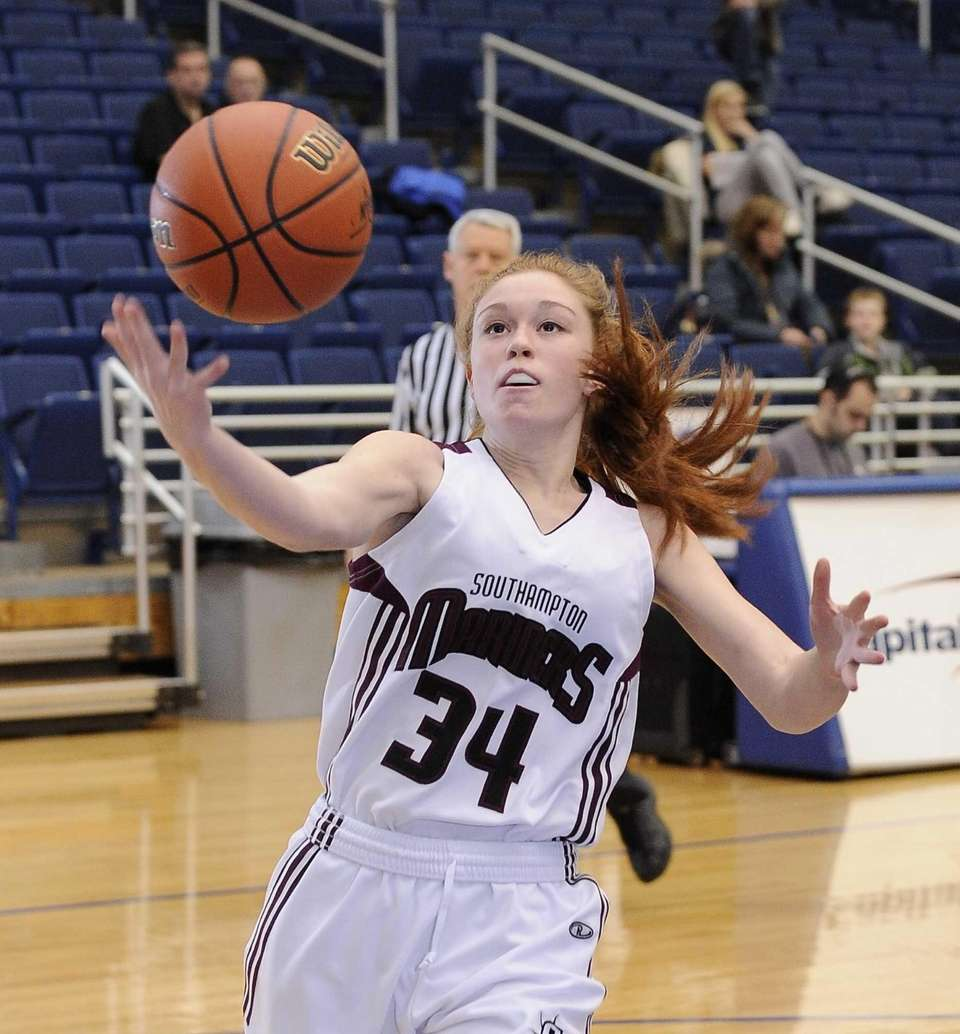 Southampton's Cassidy Guida loses possession under the basket