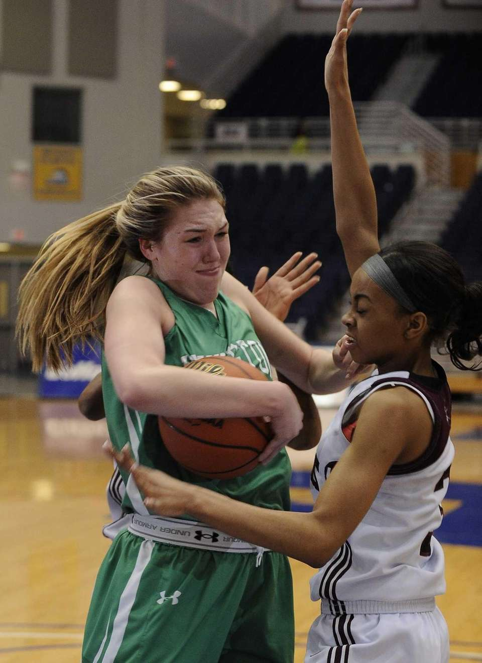 Southampton's Dominique Taylor defends against Irvington's Lexi Martins