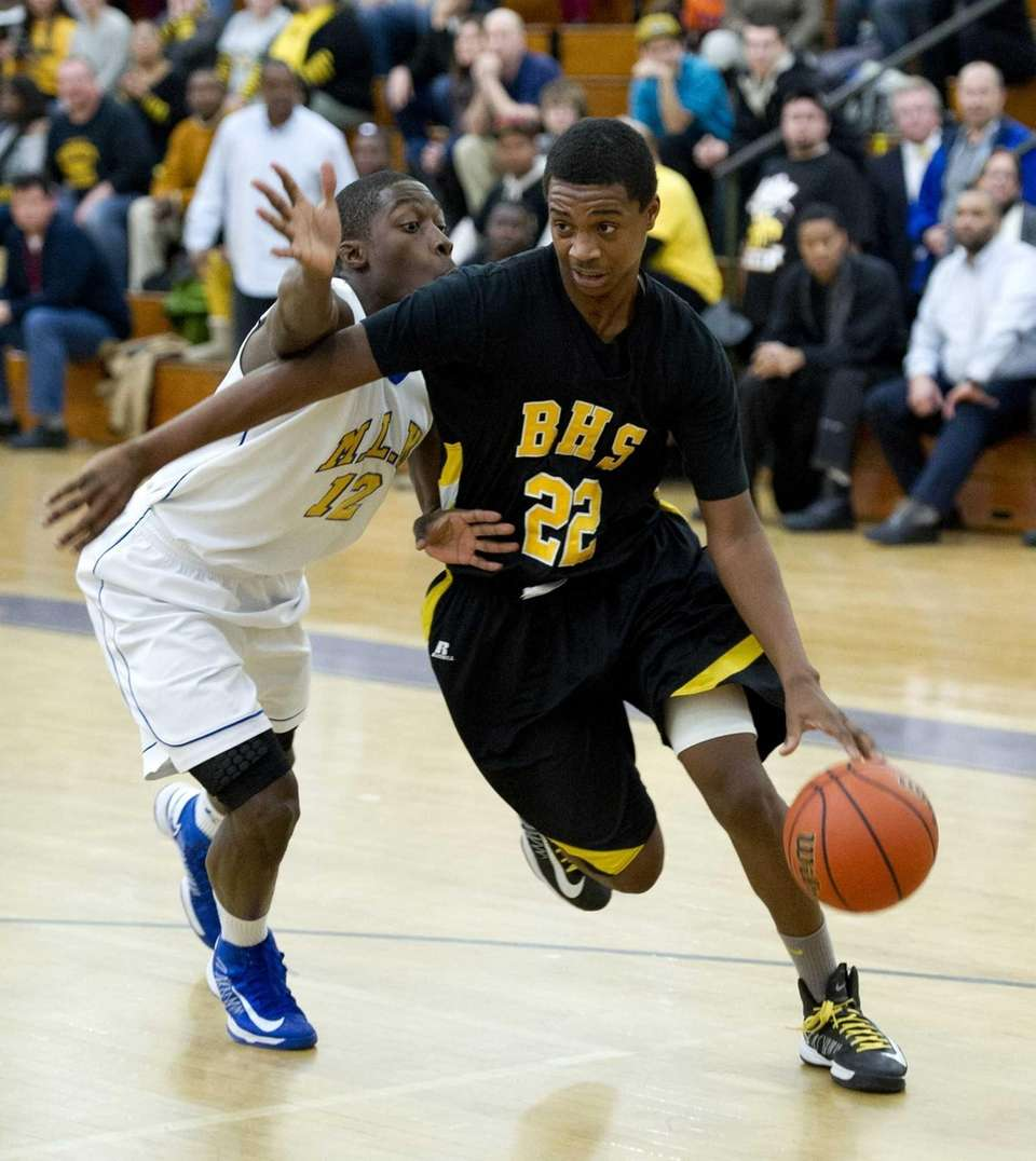 Jason Hopson of Bridgehampton drives to the basket
