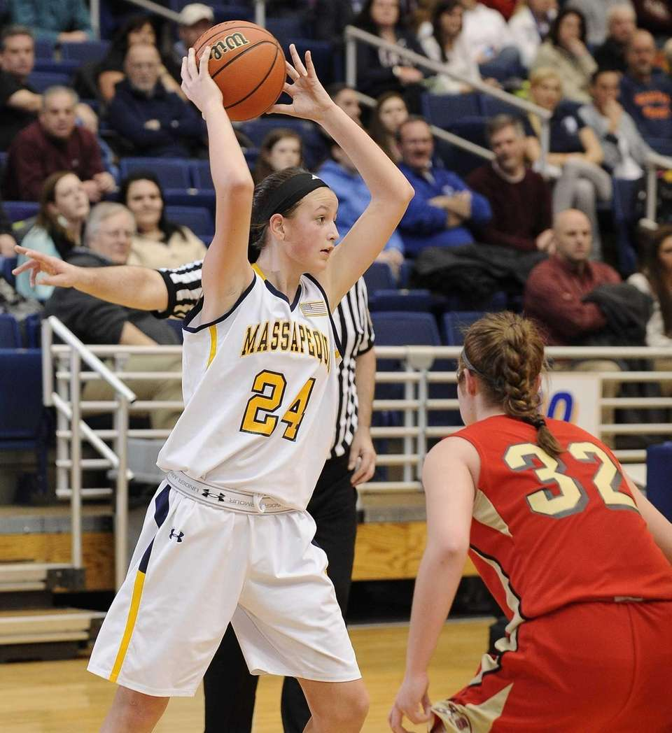 Massapequa's Melanie Hingher looks to pass against Sachem