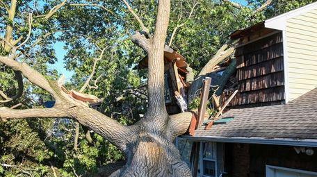 A Huntington Station home damaged by a tree