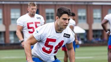 Blake Martinez participates in drills at training camp,