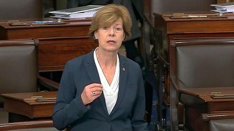 Wisconsin Sen. Tammy Baldwin speaks on the Senate