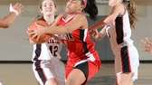 Friend's Lindsey O'Sullivan (right) battles Hamilton's Jasmine Robinson