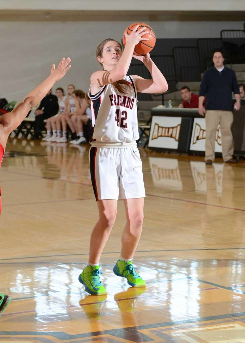 Friend's Lindsey O'Sullivan looks to shoot during the