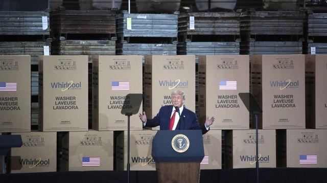 President Donald Trump speaks Thursday at a Whirlpool