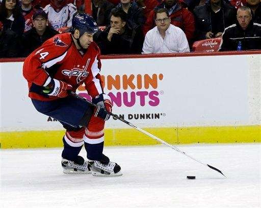 Washington Capitals defenseman Roman Hamrlik skates with the