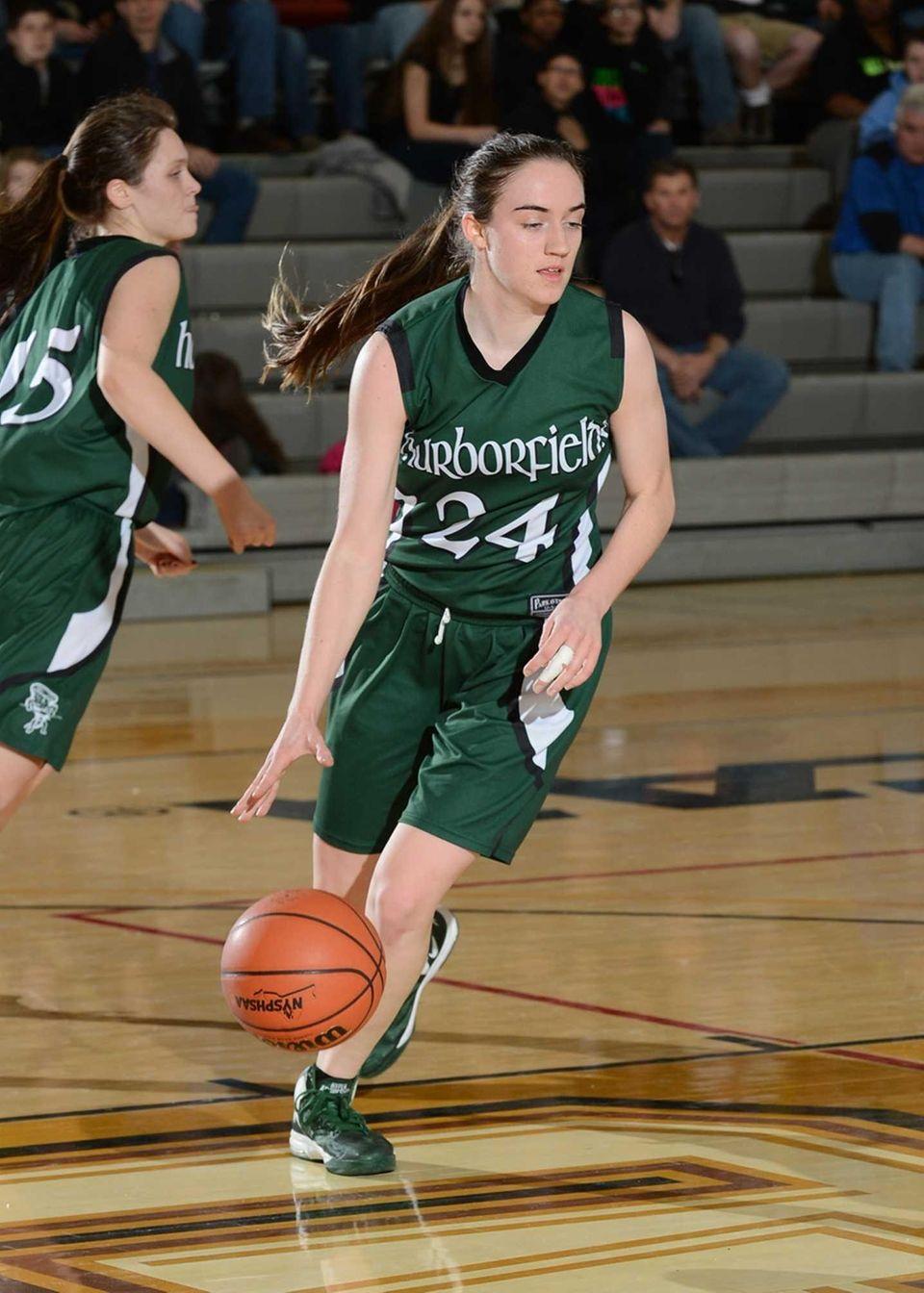 Harborfield's Bridget Ryan bring the ball up during