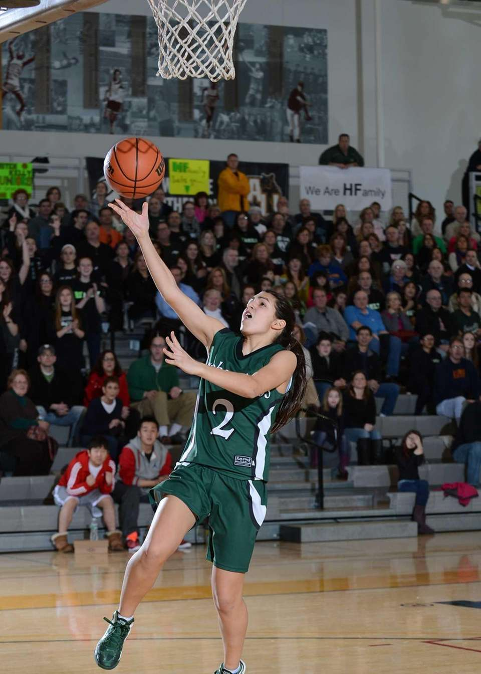 Harborfield's Amy Luxemberg (2) with the breakaway layup