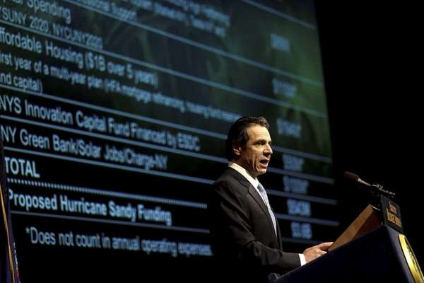 New York Gov. Andrew Cuomo presents his 2013-14