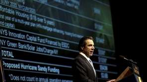 New York Gov. Andrew Cuomo presents his 2013-14