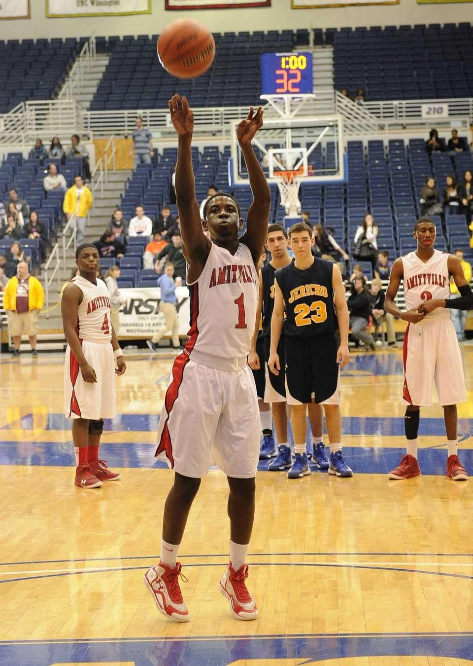 Amityville's Andy Laurent shoots a free throw against