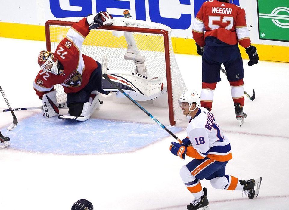 Anthony Beauvillier of the New York Islanders celebrates