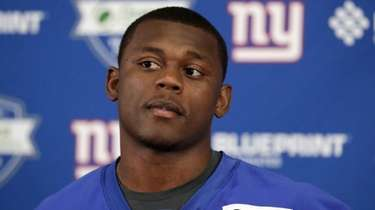 Giants cornerback DeAndre Baker talks to reporters on