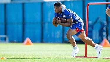 Saquon Barkley during Giants training camp on Wednesday,