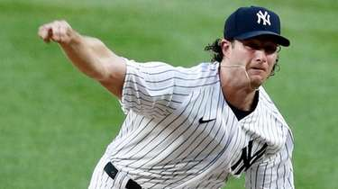 Gerrit Cole of the Yankees pitches during the