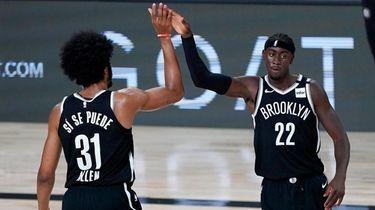 The Nets' Jarrett Allen and Caris LeVert react