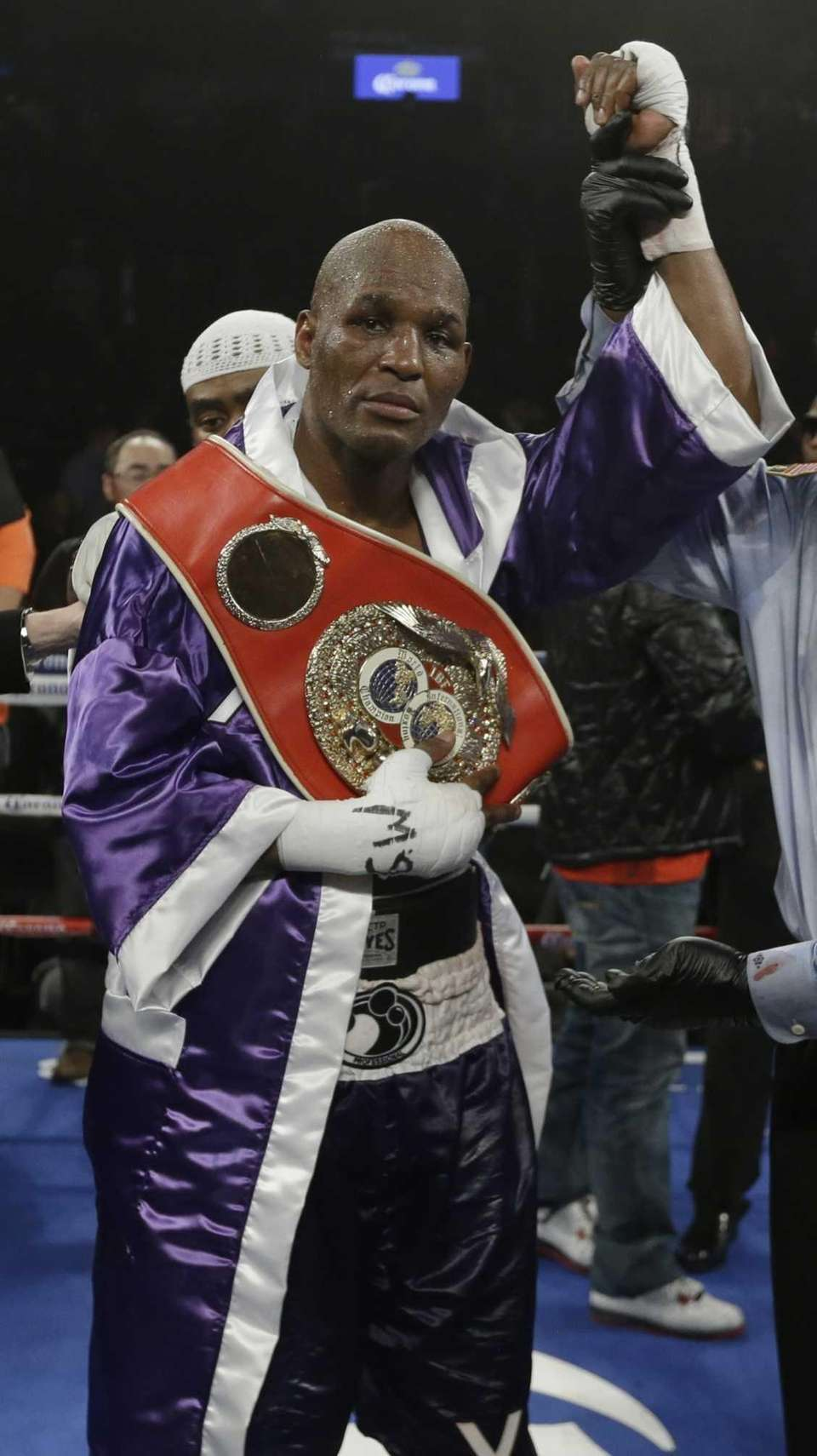 Bernard Hopkins poses for photographs after an IBF
