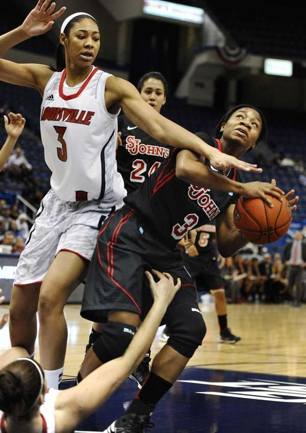 St. John's Aliyyah Handford, right, is pressured by