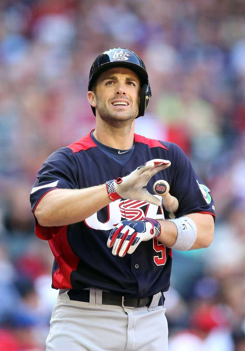 David Wright of the USA grabs his bat