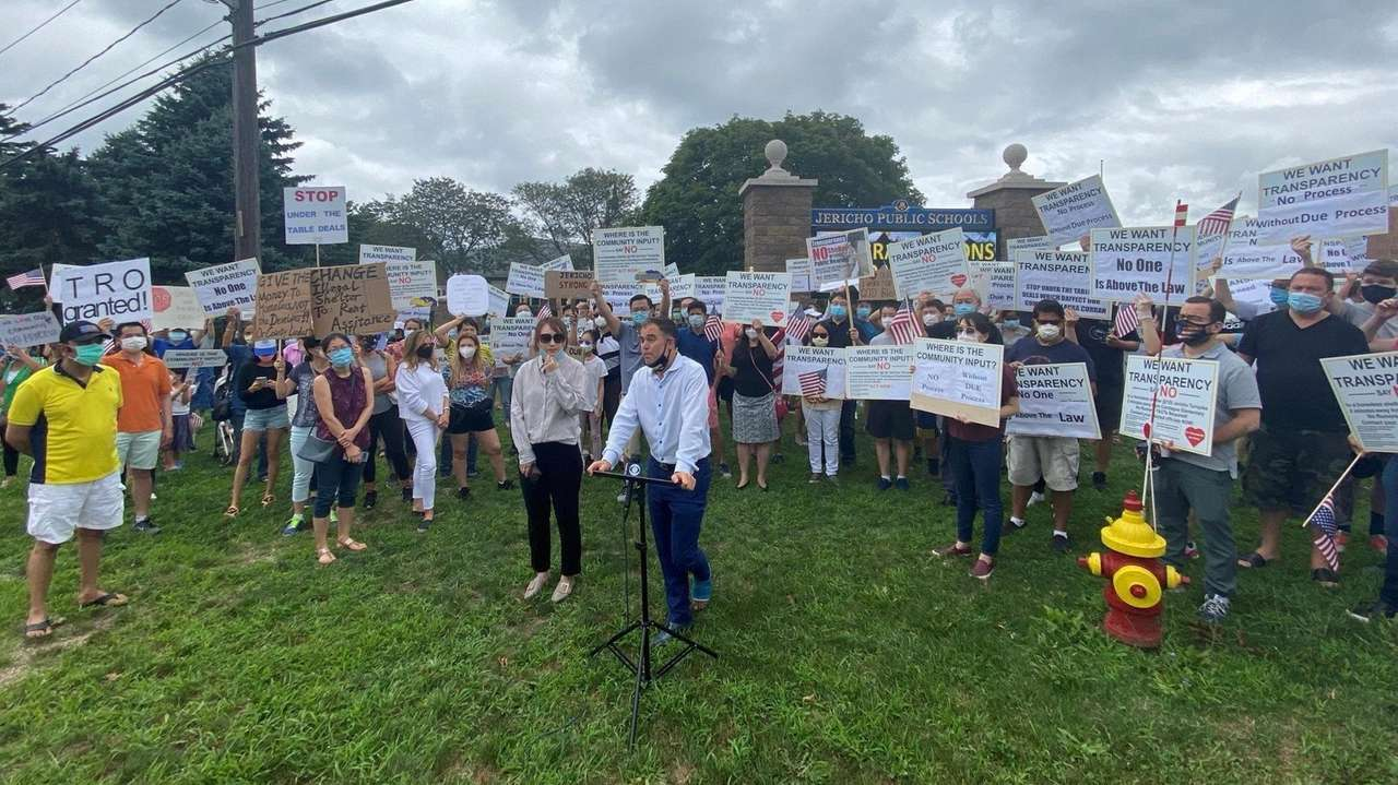 Jericho residents gathered on Saturday to protest the