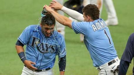 Willy Adames #1 of the Tampa Bay Rays