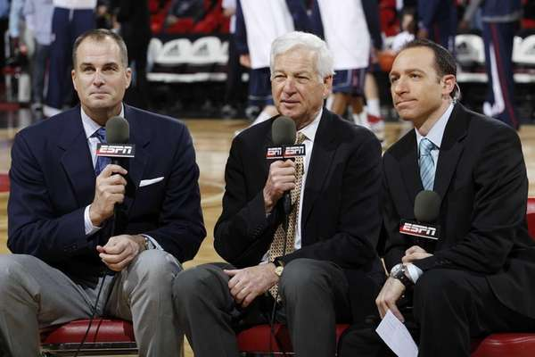 ESPN television broadcast team (from left) Jay Bilas,