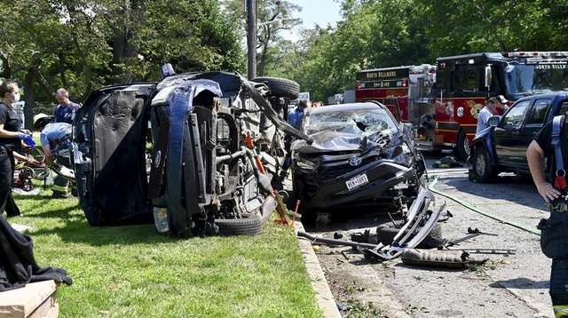 Scene from a crash involving three vehicles in