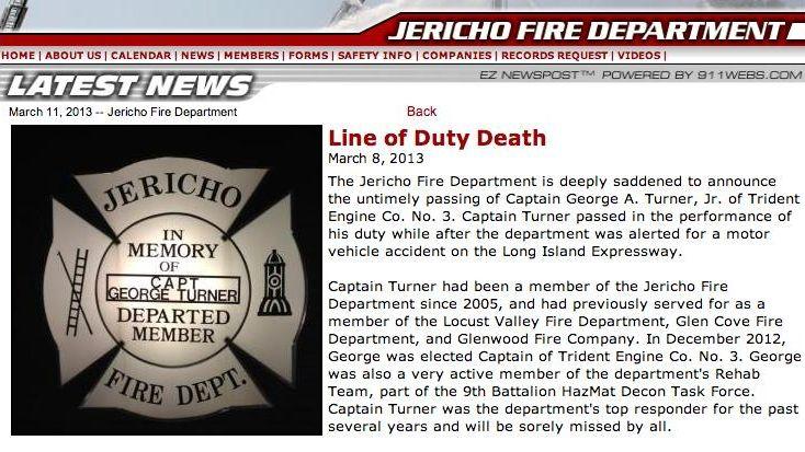 An image of the Jericho Fire Dept. website,