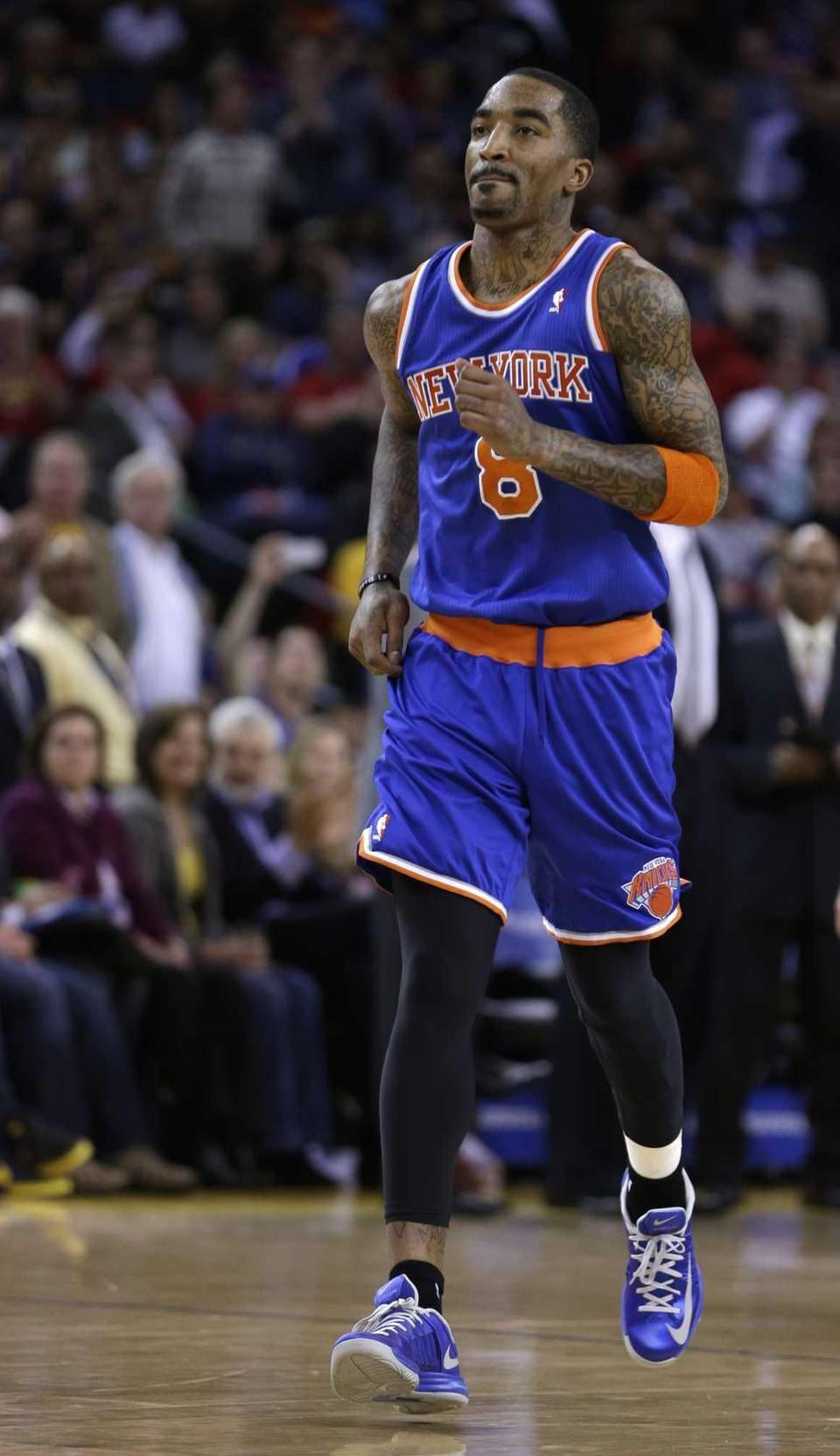 J.R. Smith leaves the court after being ejected