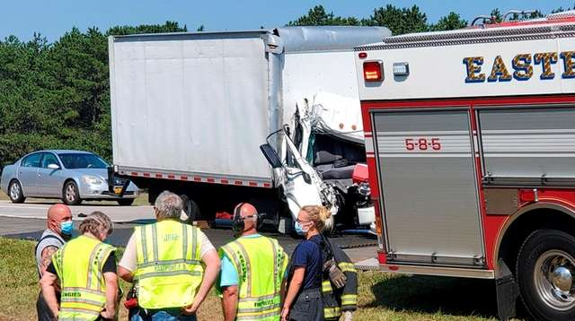One person was killed when a box truck
