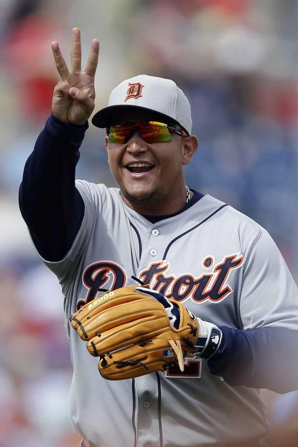 Detroit Tigers third baseman Miguel Cabrera reacts as