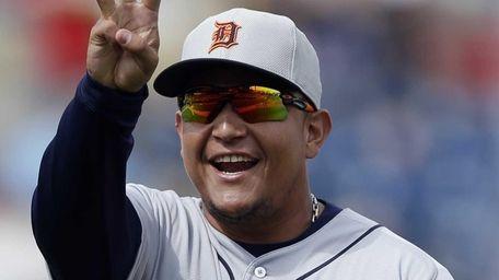 Detroit Tigers third baseman Miguel Cabrera reacts as