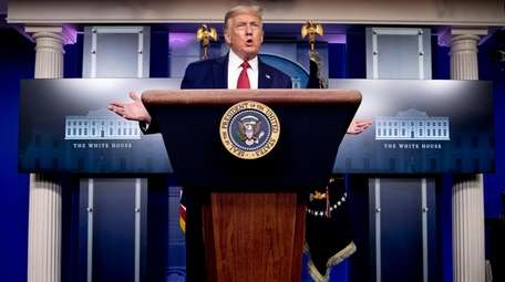 President Donald Trump at a news conference in