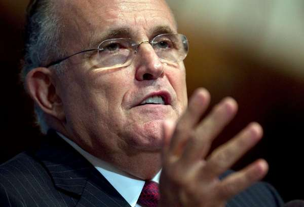 Former New York Mayor Rudy Giuliani speaks at