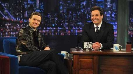 Justin Timberlake and Jimmy Fallon during a taping