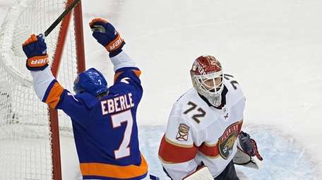 Jordan Eberle of the New York Islanders celebrates