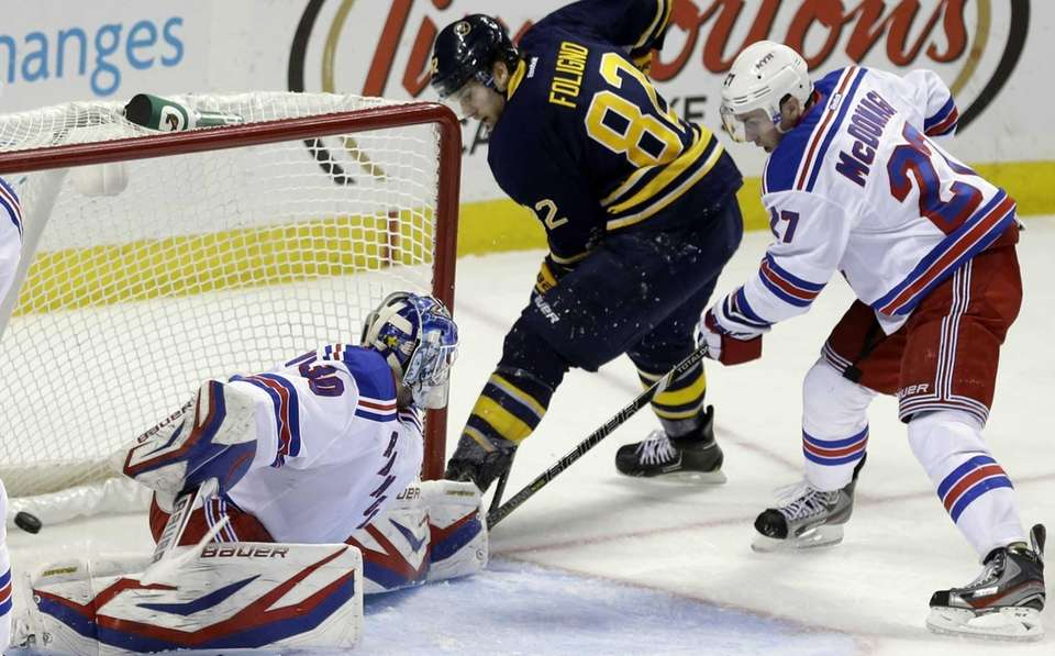 Buffalo Sabres' Marcus Foligno scores on Rangers' Henrik