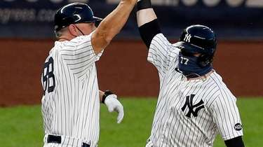 Clint Frazier of the Yankees celebrates his second-inning